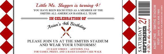 Little Slugger baseball admission ticket invitation, birthday party invitation baseball, birthday invitation baseball