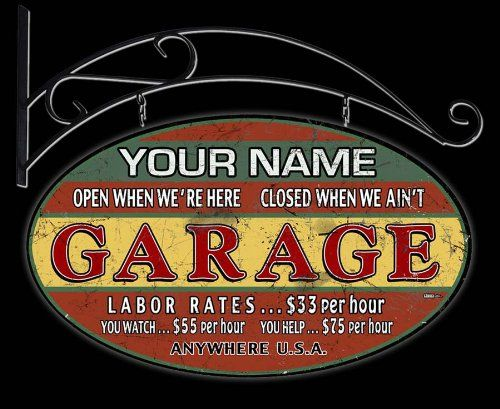 Auto Garage Signs : Double sided hanging sign personalized with name and town