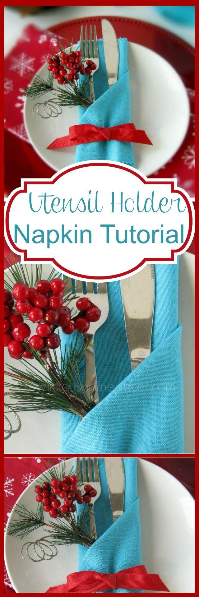 Utensil holder napkin tutorial with FREE eBook of napkin tutorials. So cute so easy! sewlicioushomedecor.com