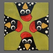 Folk Art Chickens by artist Annie Lane