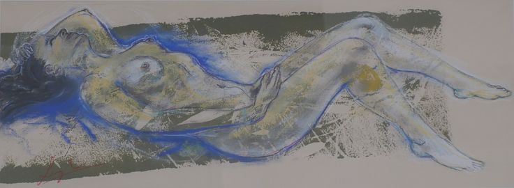 Leigh Carbines - Reclining Blue Figure. Mixed Medium 54cm x 110cm