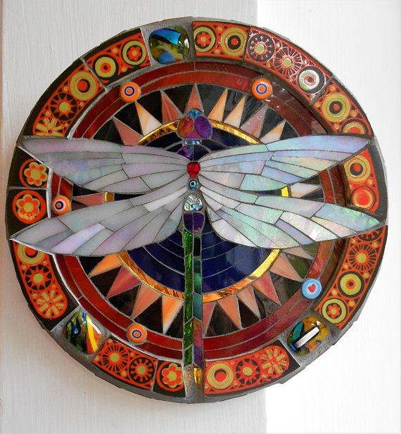 Mosaic dragonfly wall hanging