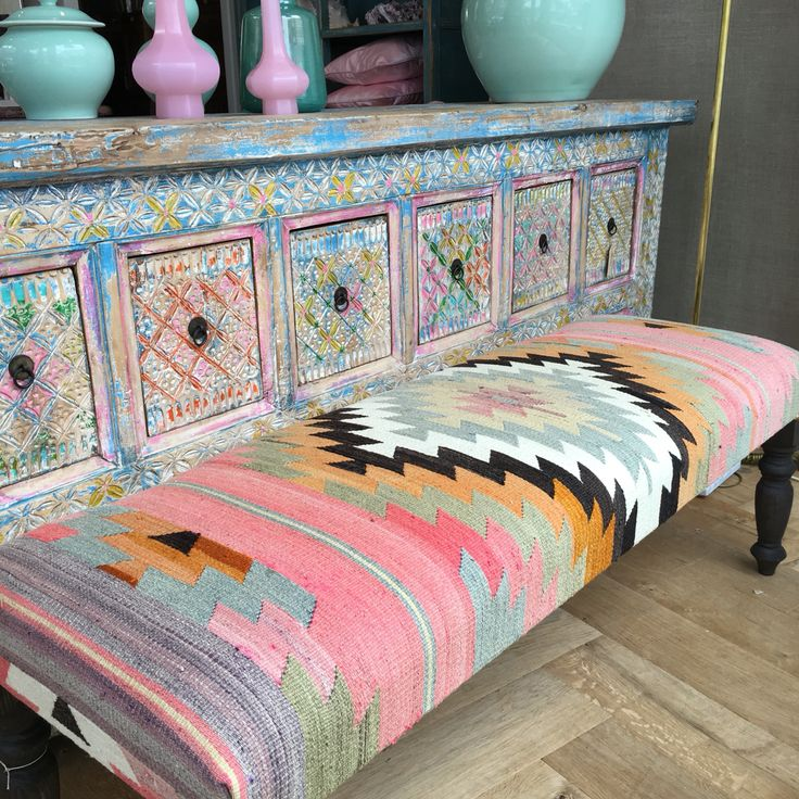 Kilim bench and cabinet in candy colors.