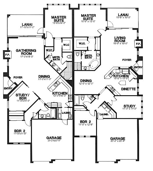 Contemporary Multi Family Plan 58966