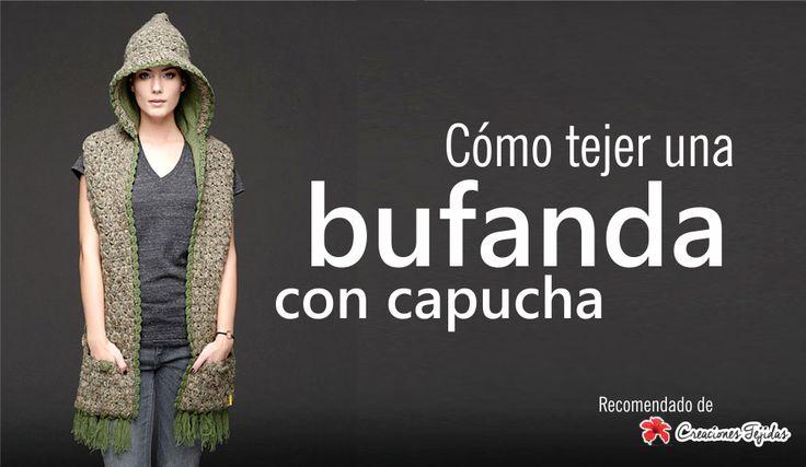 #T56 Tutorial Paso a Paso: Cómo tejer una bufanda con capucha ~ Creaciones Tejidas