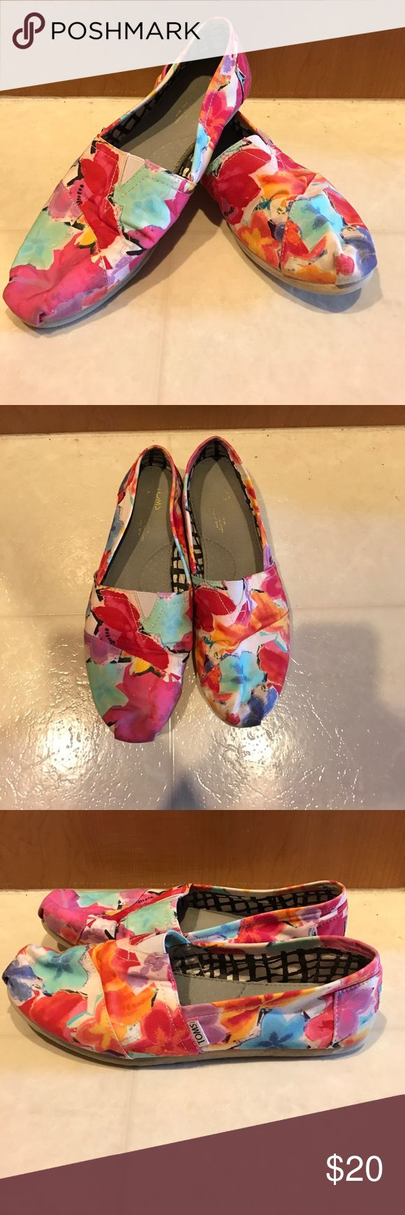 Floral TOMS Bright colorful floral toms! Fun summer shoes. Used. TOMS Shoes Flats & Loafers
