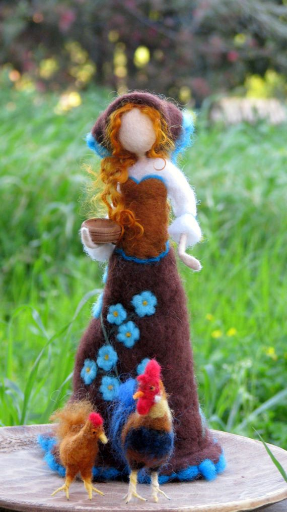Art doll with chicken Needle felted doll Spring decoration