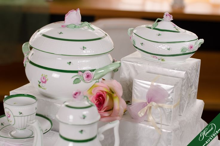 The border of the wavy brim of these porcelains with a snow white fond is framed with a narrower and a wider green band with tiny parsley leaves on the border between the bands.  http://www.herend.at/services/vienna-rose-vrh-herend-porcelain-sets/