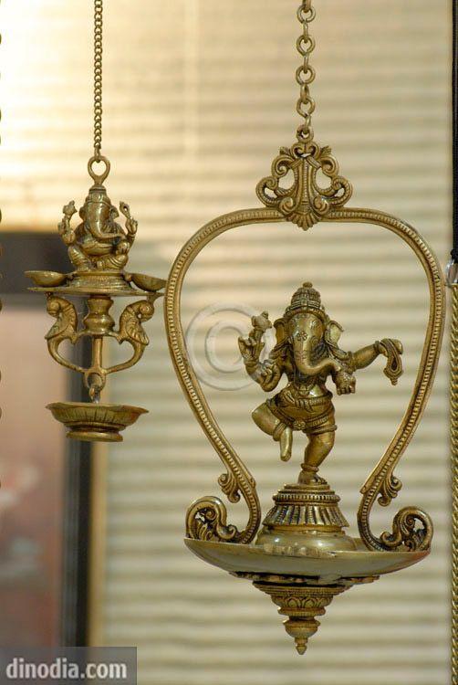 Brass hanging ganesh lamps