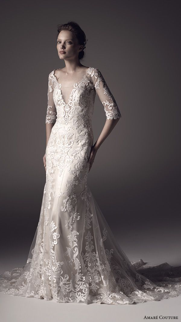 amare couture ss 2016 lace half sleeves illusion scoop v neck fully embellished elegant 2in1 trumpet fit flare overdress wedding dress keyhole back chapel train (marilyn) mv