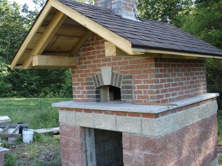 Outdoor Brick Oven hearth and door, nice roofline