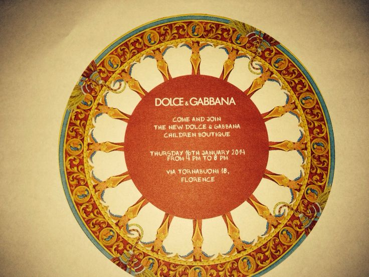 An invitation to the Opening of Dolce & Gabbana's first Children's Boutique in Florence.