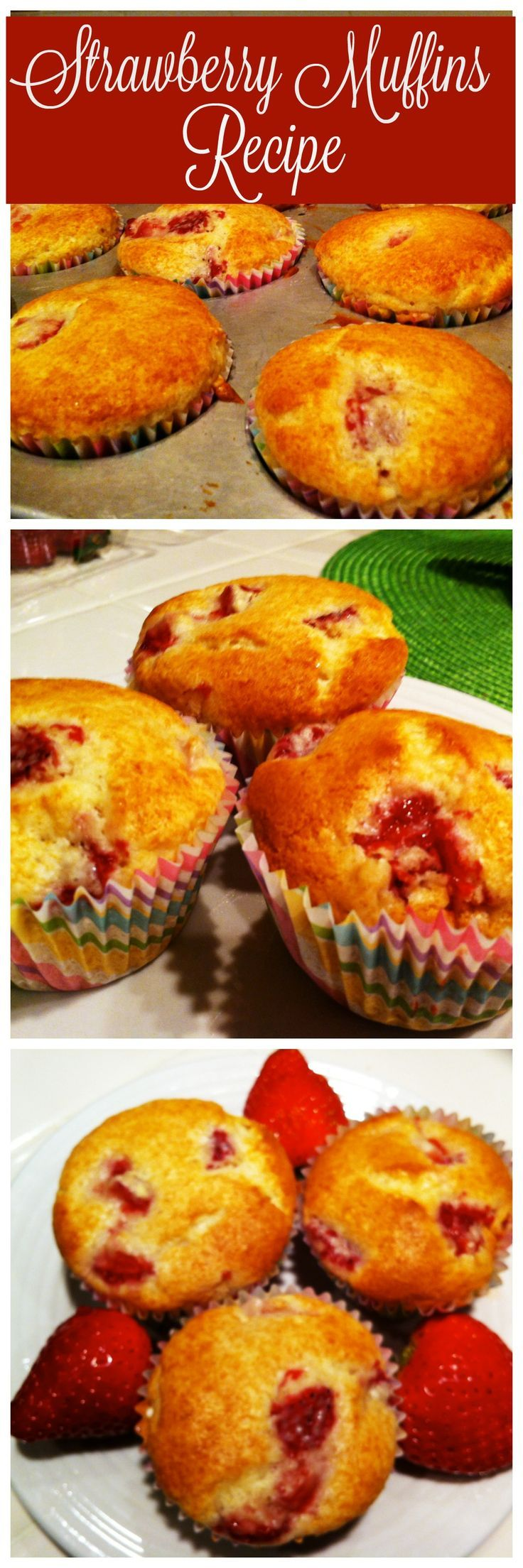 Easy Strawberry Muffins Recipe - so great for breakfast, brunch or a lunch box snack.   #easy #strawberry #muffins #recipe