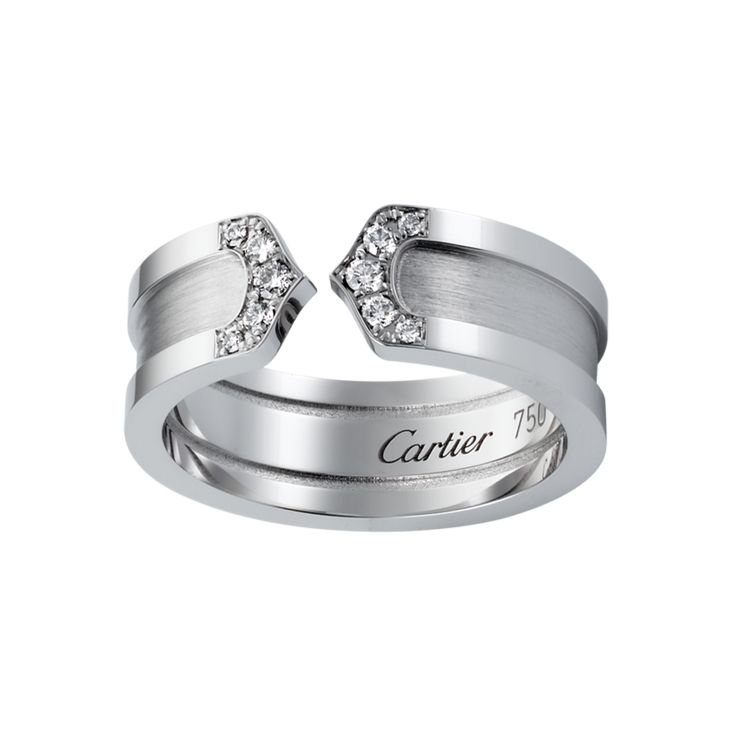 double c wedding band cartier sharp corners rings band gold white silver color diamond - Cartier Wedding Rings