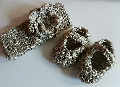 handmade chunky baby wool headband ear warmer.... and Mary janes NEWBORN