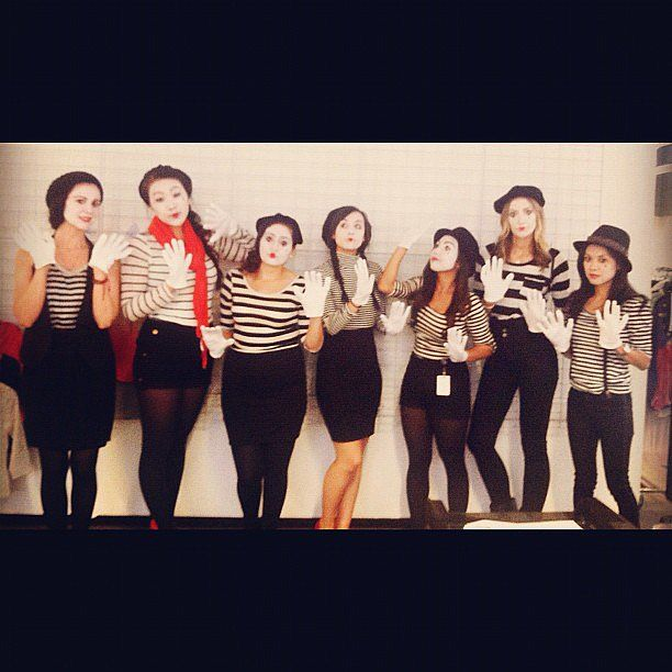 Silence is golden with this mime group costume.  Source: Instagram user msmarymac