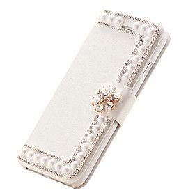 шелк кожа откидная крышка Алмазный цветок Слоты магнитный ручной жемчужные карты стоят случаи для iphone6 4.7