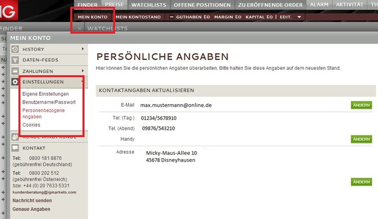 IG Tipp: Bei Bedarf ändern Sie Ihre Kontaktdaten unter Mein Konto > Einstellungen > Personenbezogene Angaben.