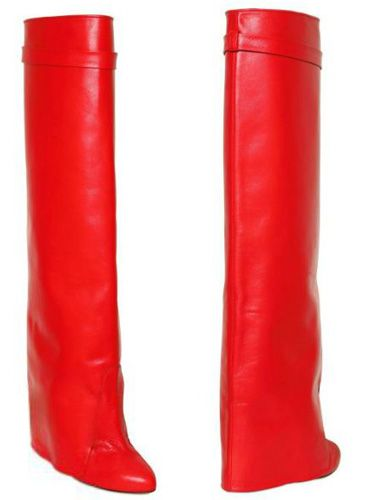 red knee high boots for the ankle-less look