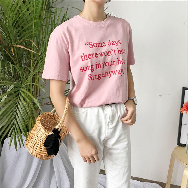 Лето 2017 г. новая мода простой с принтом букв повседневные свободные короткий рукав женские футболкикупить в магазине Eyam FashionнаAliExpress