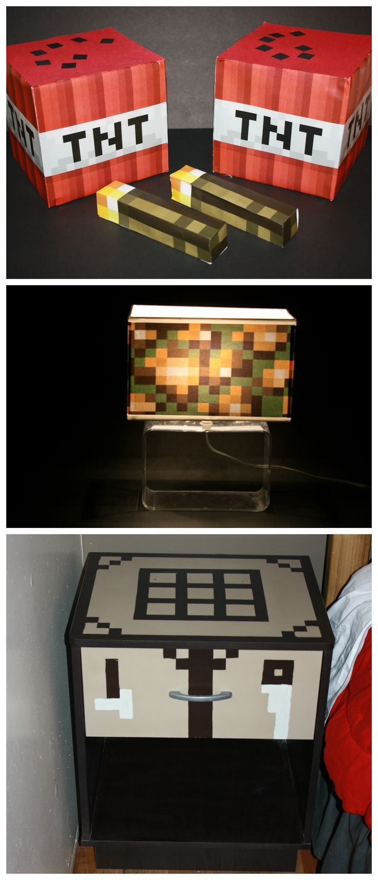 Minecraft glowstone lamp, TNT, torches & crafting table. Easy to do with free printable MC templates and a little paint. MADE BY JG!