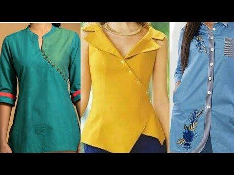 4eb3464e68f542 Latest Top/Tunics/Dresses # with button neck design##Shirt type Kurti design  - YouTube