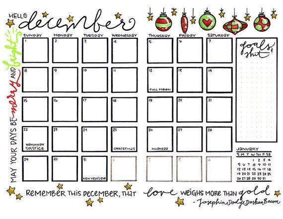 This Bullet Journal Calendar Page For The Month Of December 2019 Is Taken Straight From The Pages Of My O Calendar Pages Planner Calendar Bullet Journal August