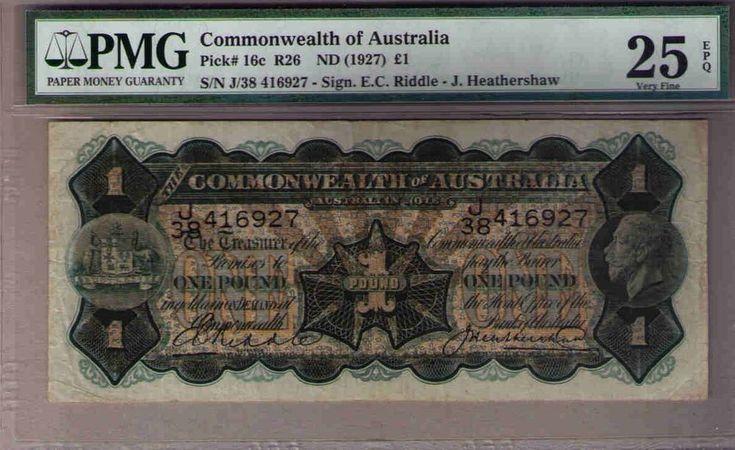 Commonwealth of Australia Pick 16c R26 - 1 pound, nd (1927). PMG 25. VF
