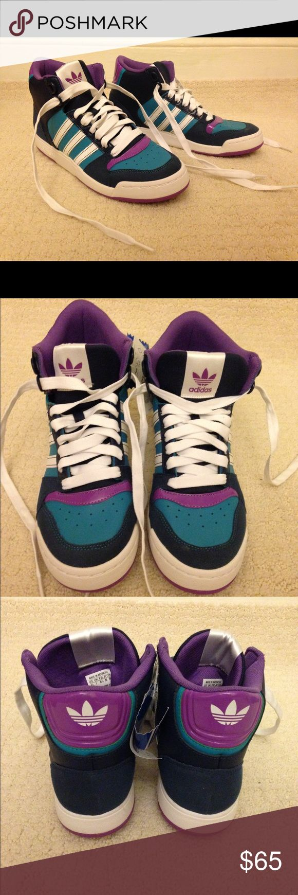 Adidas Midiru Court 2.0 high top sneakers Brand new in box Adidas high top sneakers.  Navy with teal and purple accents. Not too heavy so fun for summer! Adidas Shoes Sneakers