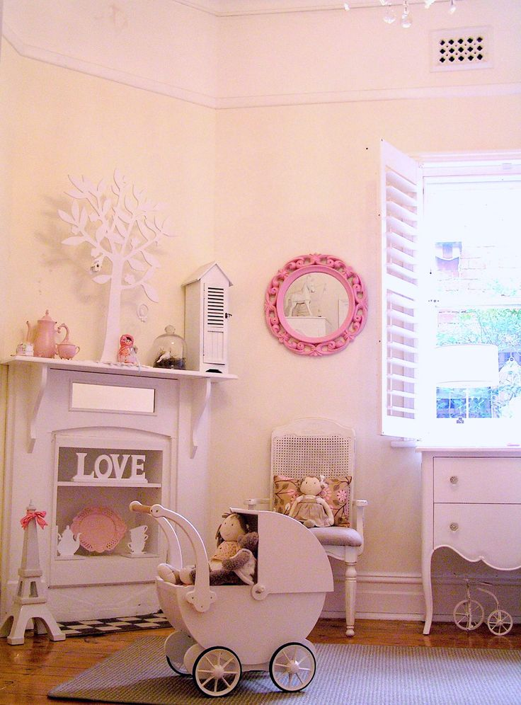 girls shabby chic french bedroom room vintage pastel pink pram shutters fireplace baby