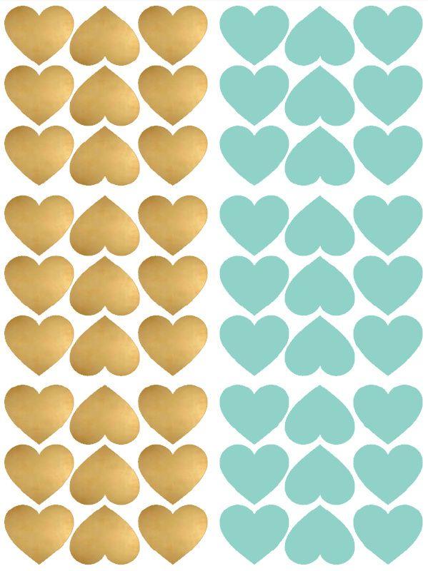 Hartjes (goud/mint) - Muurstickers
