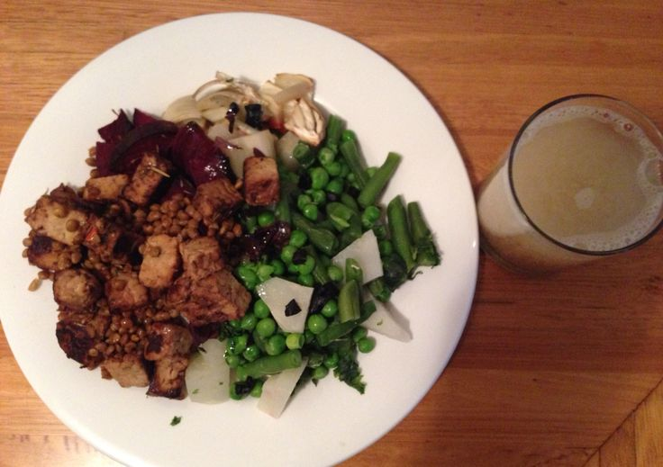 -6oz Tempe and lentils    -12oz steamed kohl rabi peas and green beans,  baked fennel and beetroot and seaweed  -1 tbsp flaxseed meal    -1 tbsp olive/sesame oil