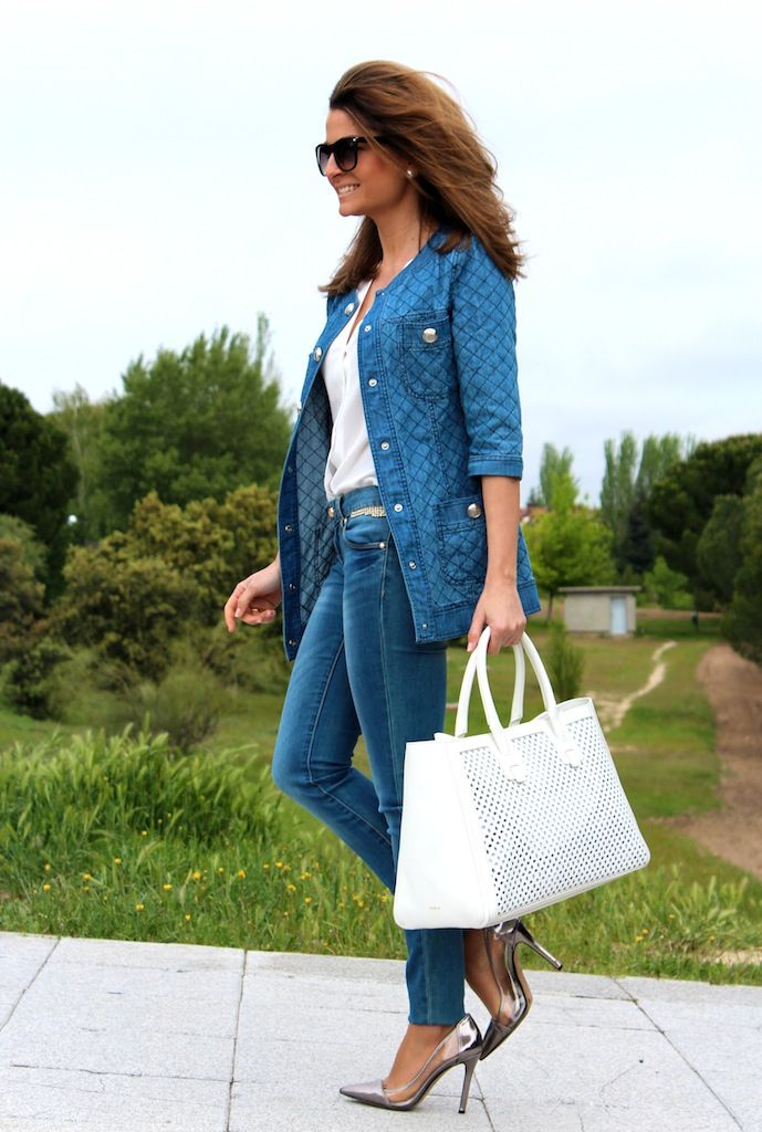 Total denim look  29-4-2014  Jacket & Jeans / Chaqueta y Jeans : Corea market ;  Bag / Bolso : Furla (Las Rozas Village) ; Shoes/Zapatos : Jessica Simpson ; Sunglasses / Gafas de sol : Mango