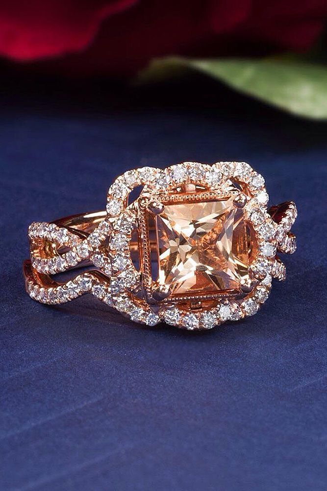 morganite engagement rings princess cut halo unique modern twist #DazzlingDiamondEngagementRings