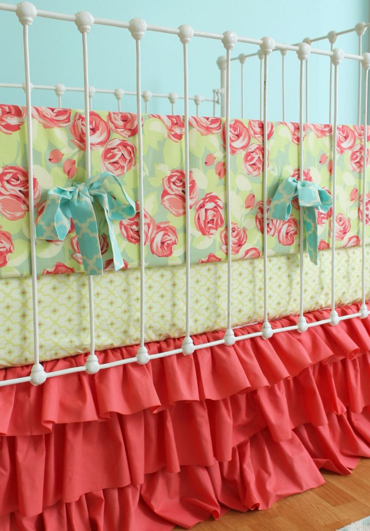 Best Coral Baby Girl Bedding Tumbling Roses Ruffles Crib Set 400 x 300
