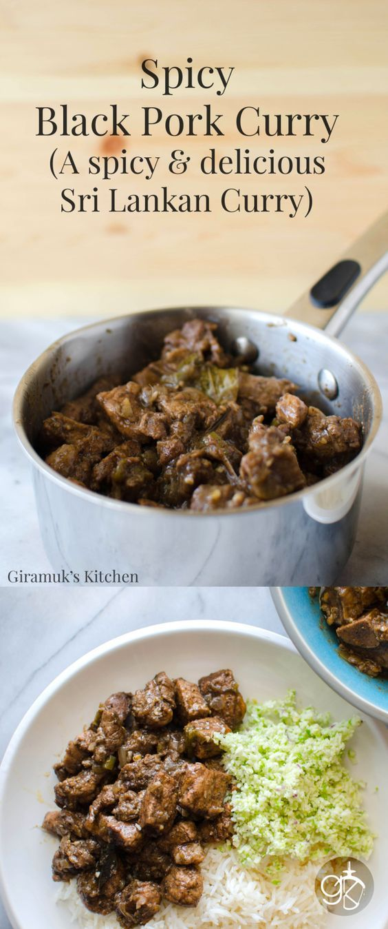 Sri Lankan Black Pork Curry - Authentic Sri Lankan Black Pork Curry! A flavorful spicy curry that is a favorite! You can reduce the spiciness and still enjoy the amazing flavors of this unique curry.
