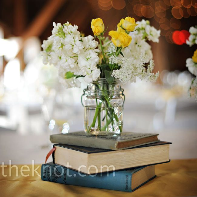 Floral And Book Centerpieces