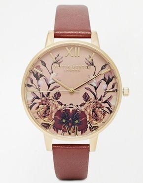 Olivia Burton - Montre à bracelet en cuir et cadran motif floral aux tons hivernaux effet miroir