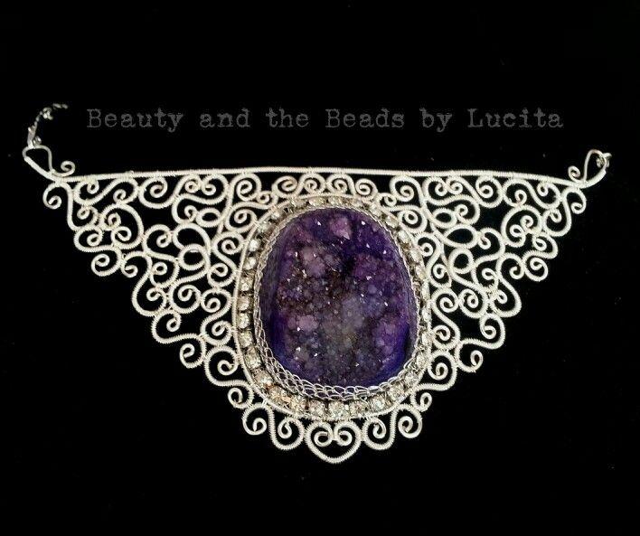 Purple colored druzy filigree necklace