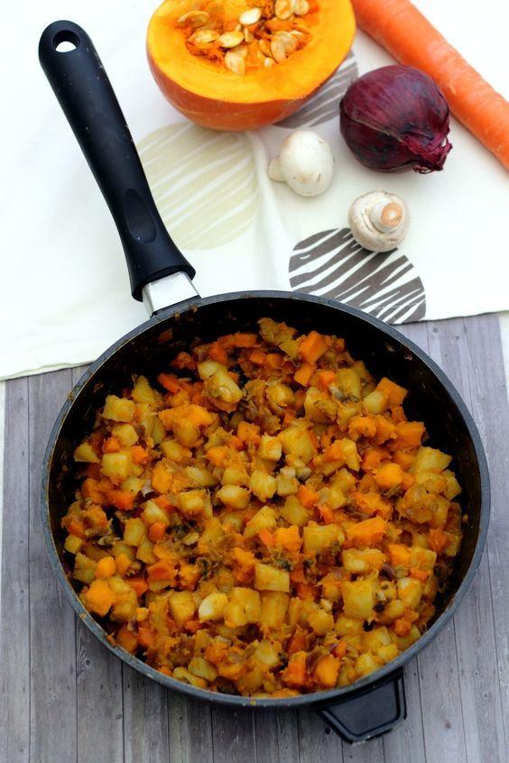 Zucca fritta con potimarron, patate, carota e funghi – …