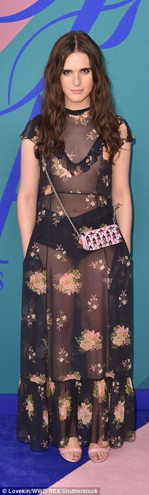 Floral vibes: Rowan Blanchard (in Coach with Jimmy Choo heels), Hari Nef and Tory Burch also chose flower emblazoned dresses for the CFDA Fashion Awards