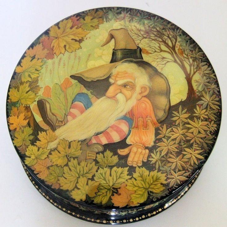 "Hand Painted Khouli Russian Lacquer Box ""Dwarf"" by Rodionova | eBay"