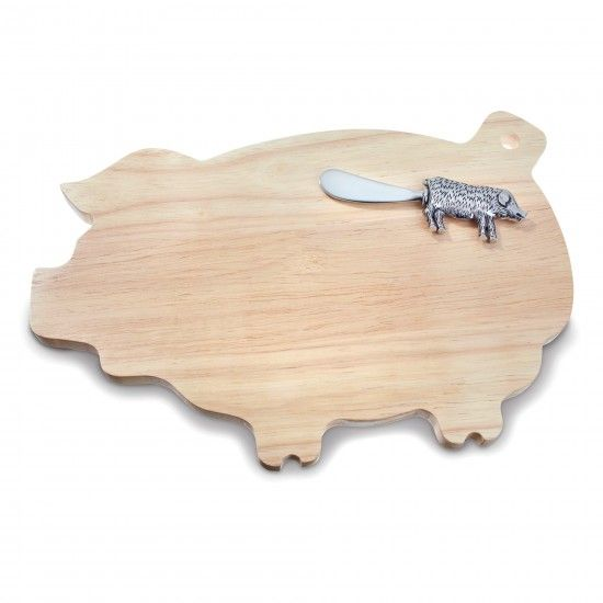 Modern Home Decor - This Little Pig Cheese Board with Spreader
