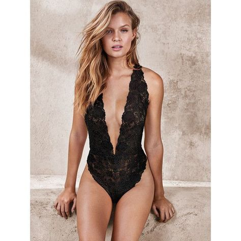 Victoria's Secret Crossback Lace Plunge Teddy ($58) ❤ liked on Polyvore fe…
