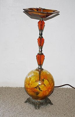 Vintage Ashtray Stand Lamp Colored Lighted Orange Glass