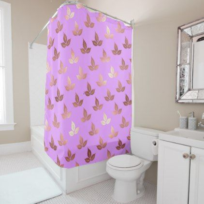 Rose Gold Leaves Leaf Pattern Lilac Lavender Shower Curtain   Metal Style  Gift Ideas Unique Diy