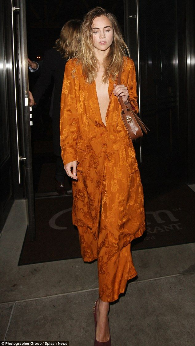 Strutting her stuff: Suki Waterhouse turned heads at a private party, held at the Palms Restaurant in Beverly Hills, on Wednesday night