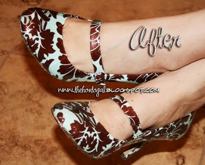 Repurpose old shoes, mod podge, fabric or paper and you have a new pair of shoes! AWESOME! I so want to try this.  I am itching to go to the thrift store now!