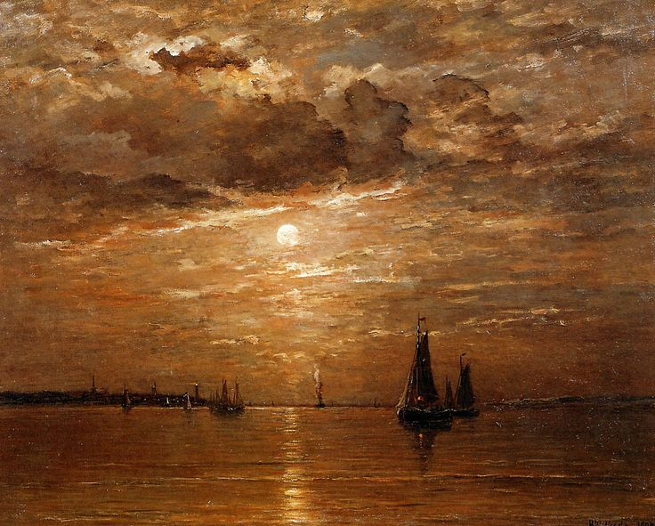 Hendrik Willem Mesdag - Moon over sea Sun