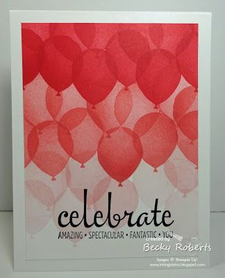 I love a good bright and cheery card, don't you??  I also really like the ombre look of the balloons on here, I have to try it in some different colors soon.  Cardstock:  Whisper White and Whisper Whi